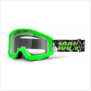 Мото очки 100% STRATA Moto Goggle Crafty Lime - Clear Lens