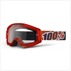 Мото очки 100% STRATA Moto Goggle Fire Red - Clear Lens