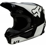 Детский мотошлем FOX YTH V1 REVN HELMET [Black/White]